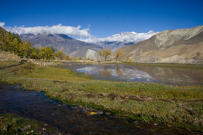 A tiny lake outside Jharkot reflect the mountains to the west