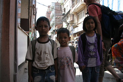Children on the way to school in Kathmandu. No I am not stealing your soul.