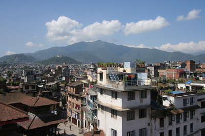 Overview of Durbar Square, Kathmandu. Money Temple can be seen on the mountain to the west