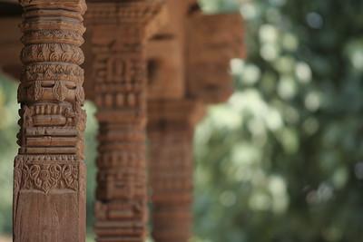 Wood carving in temple at Durbar Square in Kathmandu