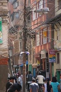 Electricity pole in Kathmandu.