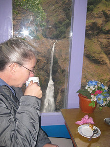 Gorgeous waterfall out the window: This dining room was built over a canyon.