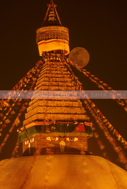 Boudhna Stupa by moonlight asia