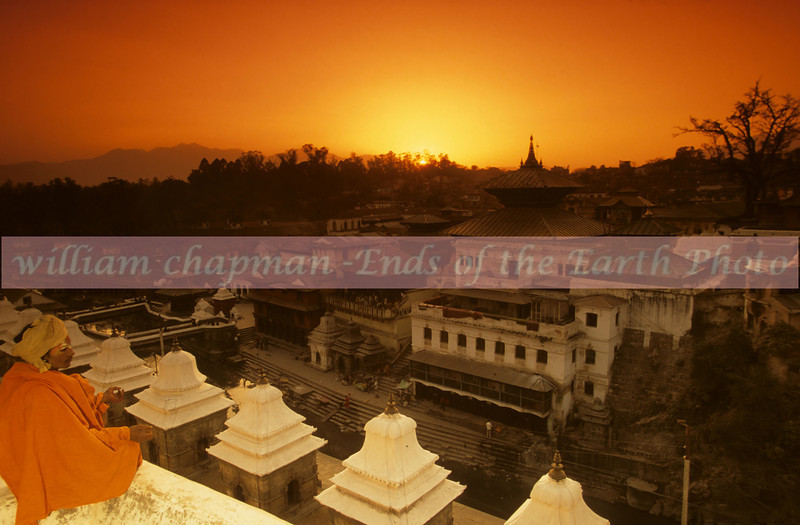 Sunset over Pashupatinath Temple- the most holy Hindu site in Nepal asia