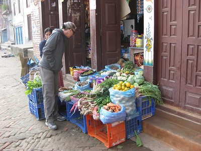 Checking out the vegetables for sale in Kathmandu