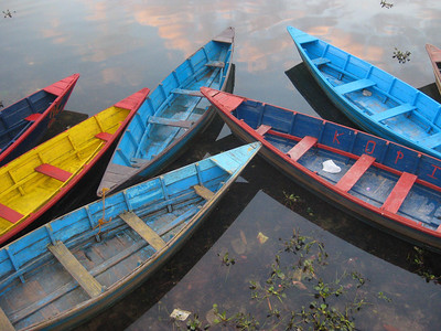 Colorful canoes in Pokhara