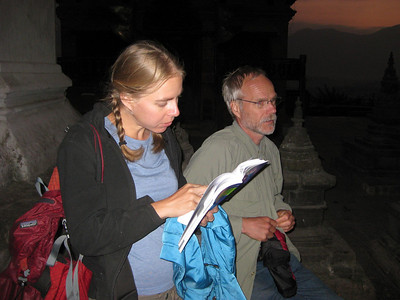 Kjristen consulting the guidebook