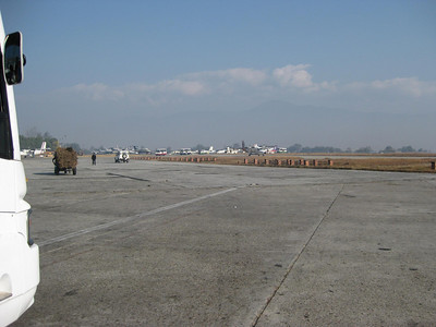 Kathmandu Airport with load of hay