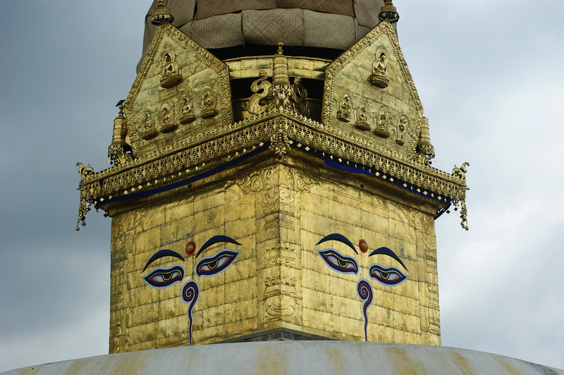 Detail of the main stupa at Swayambunath.