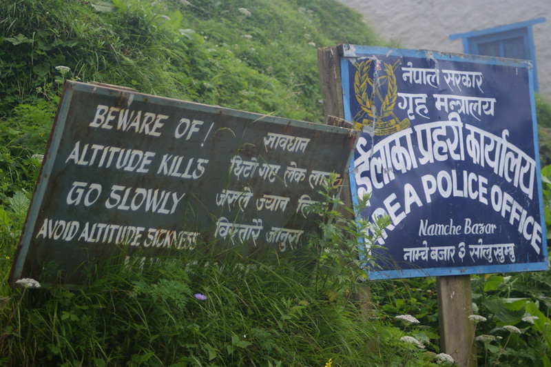 Salutary warning on the path up from Namche