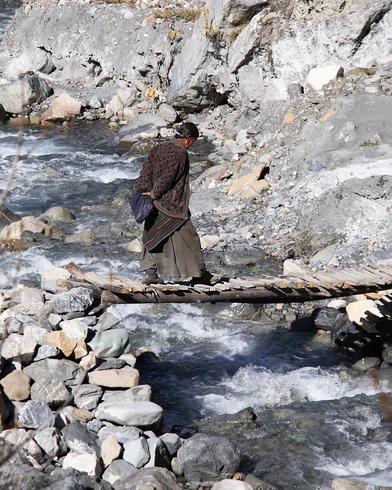 Crossing 2 log bridge