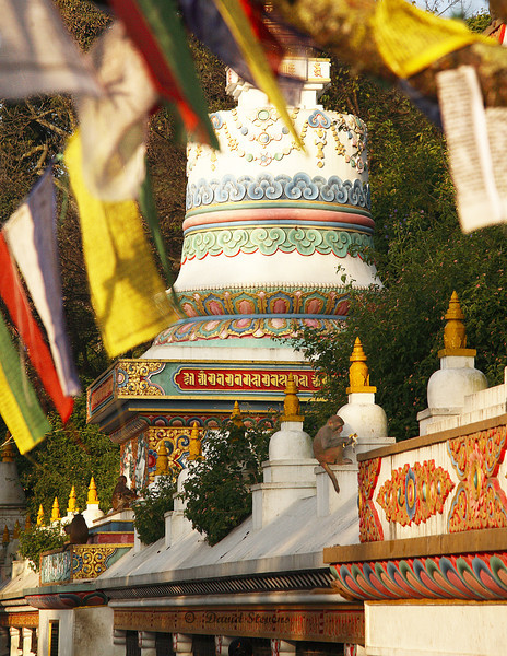 Swayambhunath Temple flags and decor