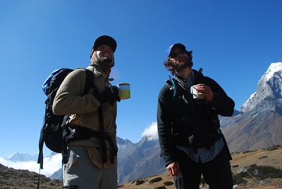 Sam and Ian,  having hot juice sent by our kitchen boy from ama base camp, life saver.