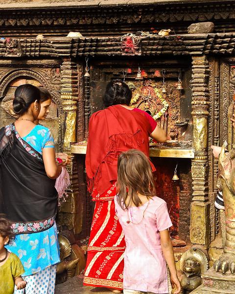 Devotees at Hindu shrine