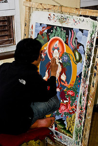 Painting in the Thangka painting school.