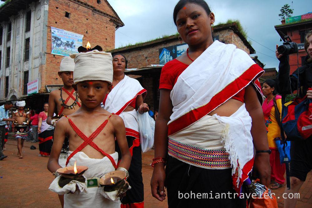 Boy and mother at procession in Bhaktapur.