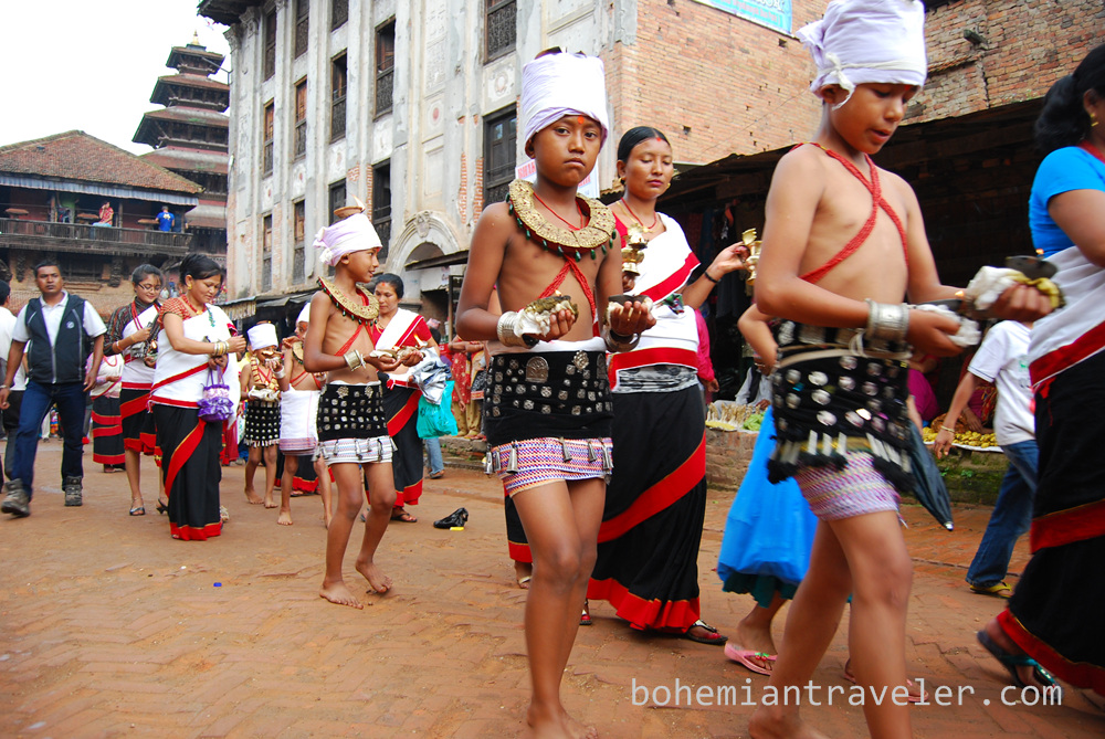 Holiday procession in Bhaktapur.