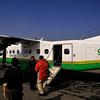 Gettting on the Kathmandu-Lukla flight in Kathmandu.  We were delayed 4 hours due to fog.  The aircraft is a Dornier Do228 STOL aircraft.