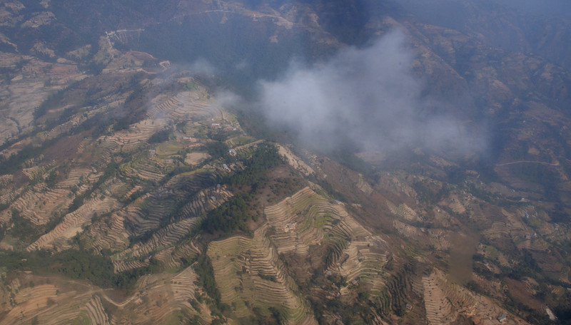 Terraced slopes on the ridges outside Kathmandu.