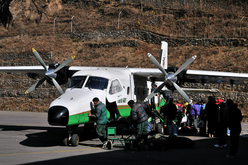 Disembarking in Lukla.