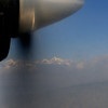 First view of the Himalayas while climbing out of Kathmandu.