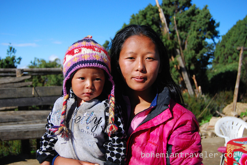 Mother and child at Langtang Lirung View.