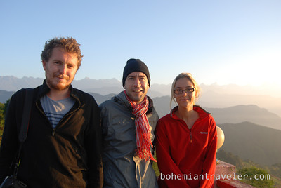 Andy, Stephen, and Becky -- sunrise at Chisapani, Nepal.