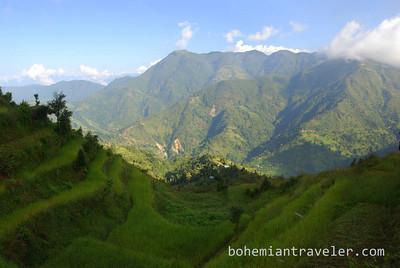 View of terraces along the Helambu Trek, Nepal.