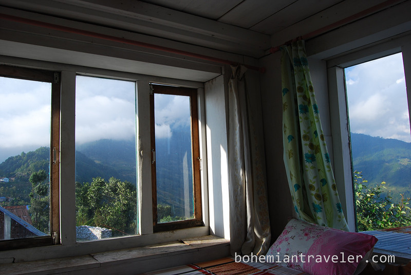 View from tea house room in Kutumsang Nepal.