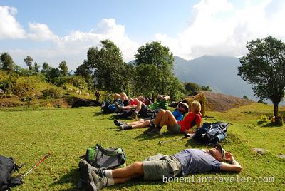 Resting on the Helambu Trek in central Nepal.