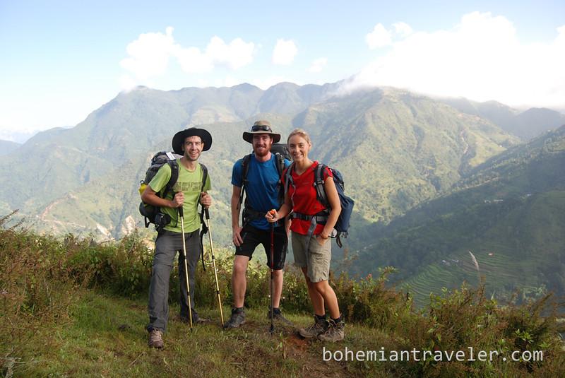 Stephen, Warrick, and Becky along the Helambu Trek in Nepal.