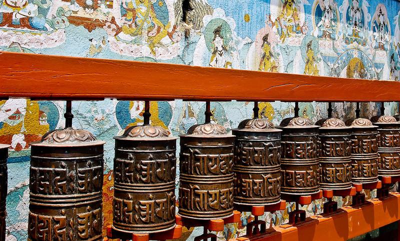 Prayer wheels at Boudhanath