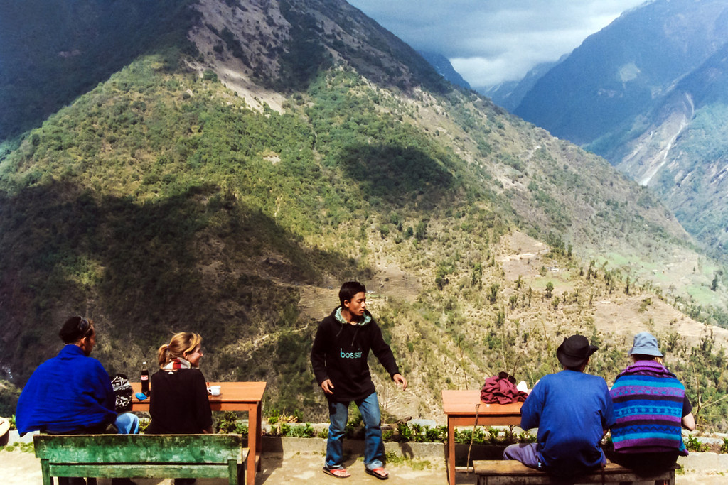 Lunch with stunning hillside views at Chomrong, Annapurna Sanctuary Trek