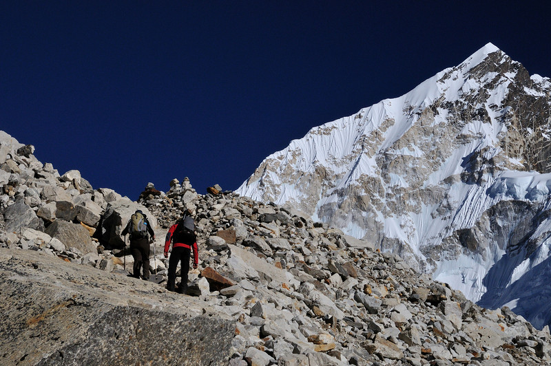 Approach to Gorak Shep along the lateral moraine of the Khumbu Glacier. Nuptse (7681m) is the mountain on the right.