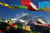 Everest and prayer flags.