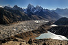 The Ngozumbar glacier from the summit of Gokyo Ri, looking south east. The settlement of Gokyo can be seen to the left hand side of the lake in the lower part of the picture.