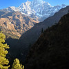 Morning view of Thamserku from the trail to Namche Bazaar.