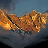 Everest and Lhotse at sunset.
