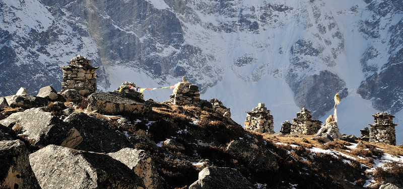 Memorials in the Khumbu valley, to those who have died climbing Everest.
