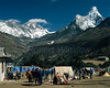 Trekkers' Tents at Thyangboche Budhist Monastery,  Mt. Everest, Lhotse, Nuptse, Ama Dablam, Himalayan Mountains, Nepal, Asia (6x7 format)