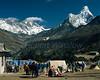 Trekkers' Tents at Thyangboche Budhist Monastery,  Mt. Everest, Lhotse, Nuptse, Ama Dablam, Himalayan Mountains, Nepal, Asia (6x7 format)