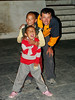 I played football with nepali child in the courtyard of the budist temple