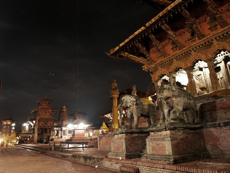 Durbar square at night in Patan