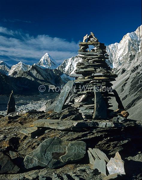 Summit Cairn, Chukung Ri,  Nuptse Glacier, Pumori in the Background, Khumbu Region, Himalayan Mountains, Nepal, Asia, 6x7 medium format image