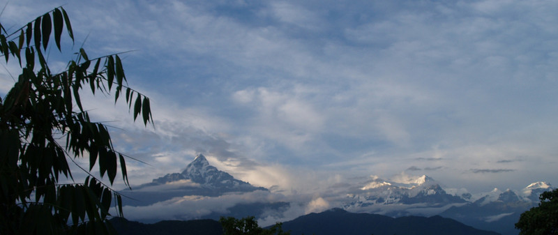 Annapurnas mountain range from Pokara, with the beatiful mount Machhapuchhre
