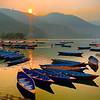 Lake Fewa boats at sunset