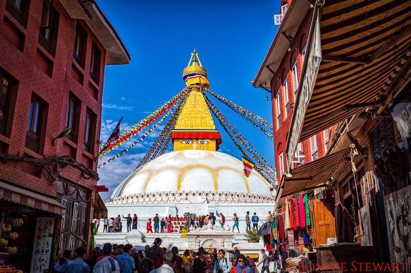 Buddha Stupa as it hides between buildings!