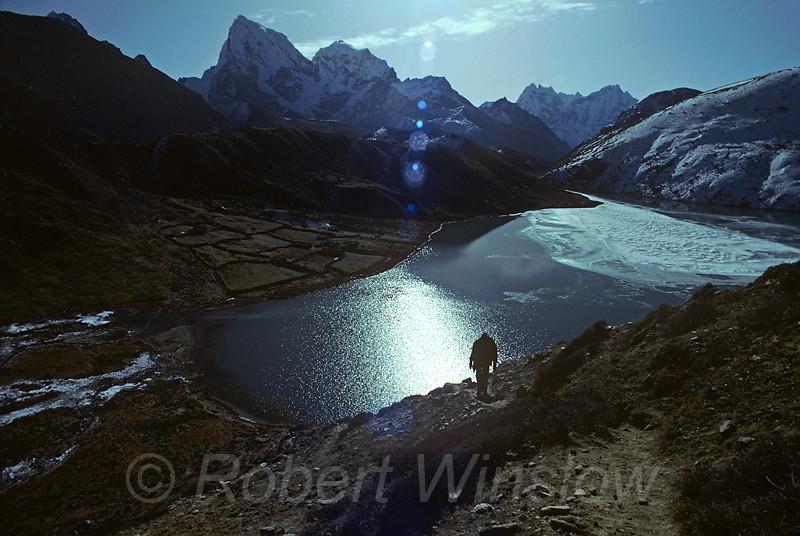 Hikers, Ngozumpa Glacier, Gokyo Village, Himalayan, Mountains, Nepal, Asia, photo taken hiking up Goyko Ri