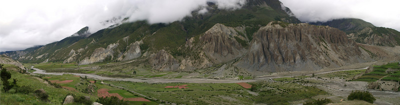 Panoramic view from Manang at 3.500 meters and some problems of mountin sickness included