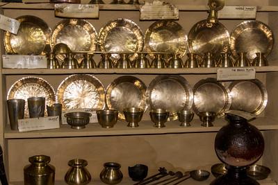 Museum Display: Brass Tableware